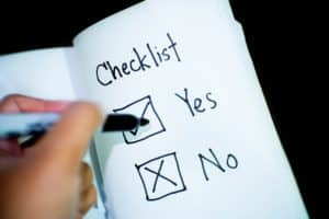 A checklist that has 'yes' checked off.